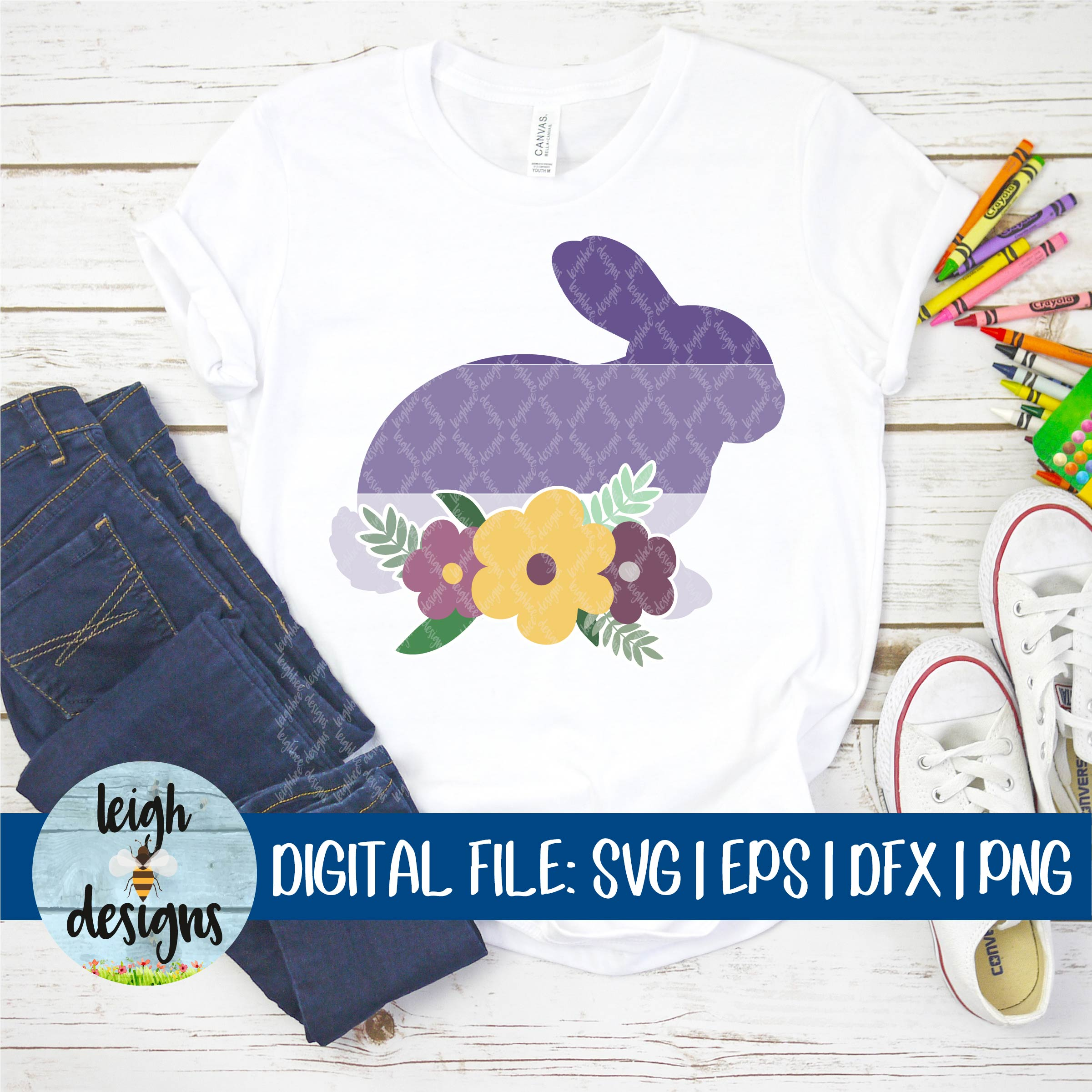 Ombre Bunny with Flower Swag SVG EPS DFX PNG Cut File example image 7
