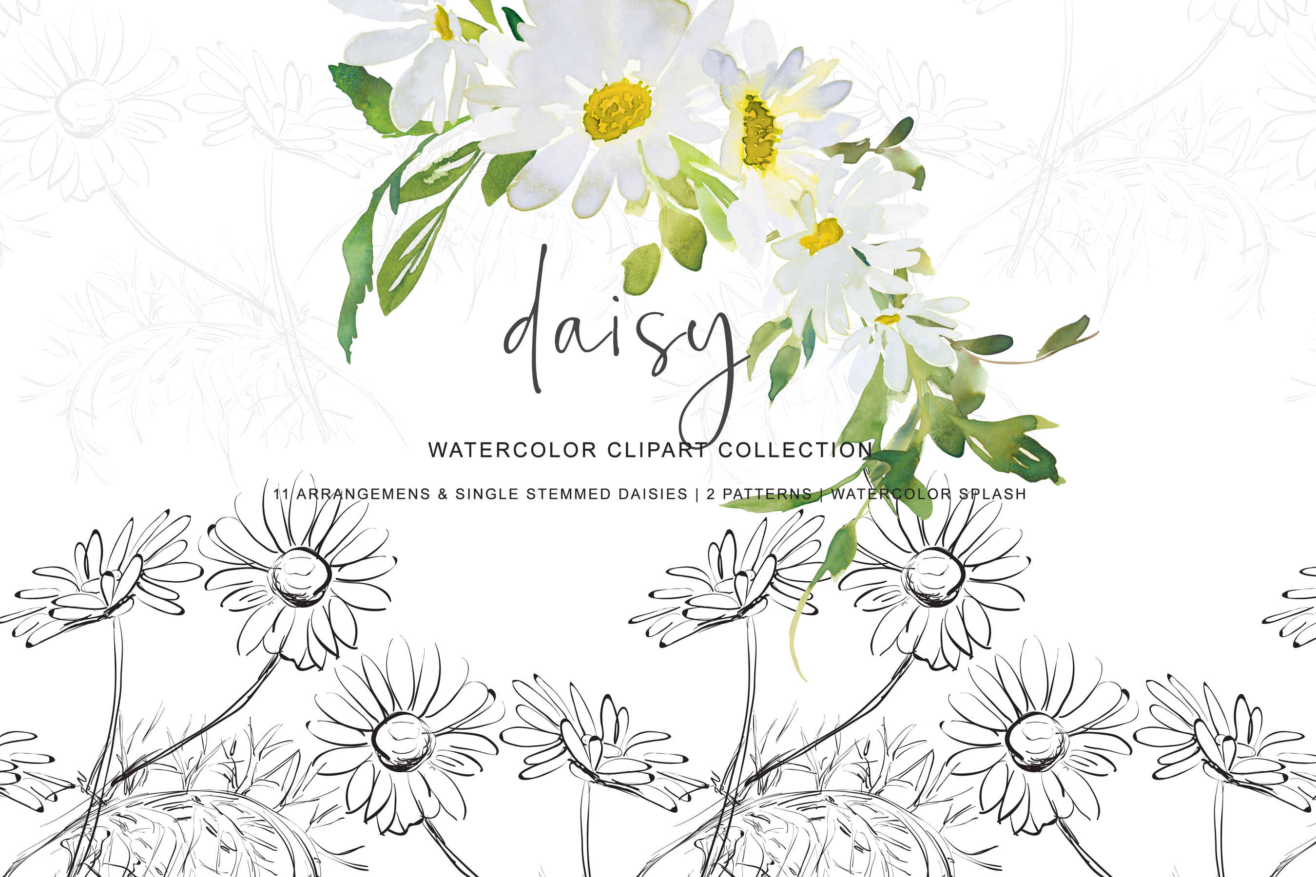 Watercolor Daisy Arrangement Clip Art example image 1