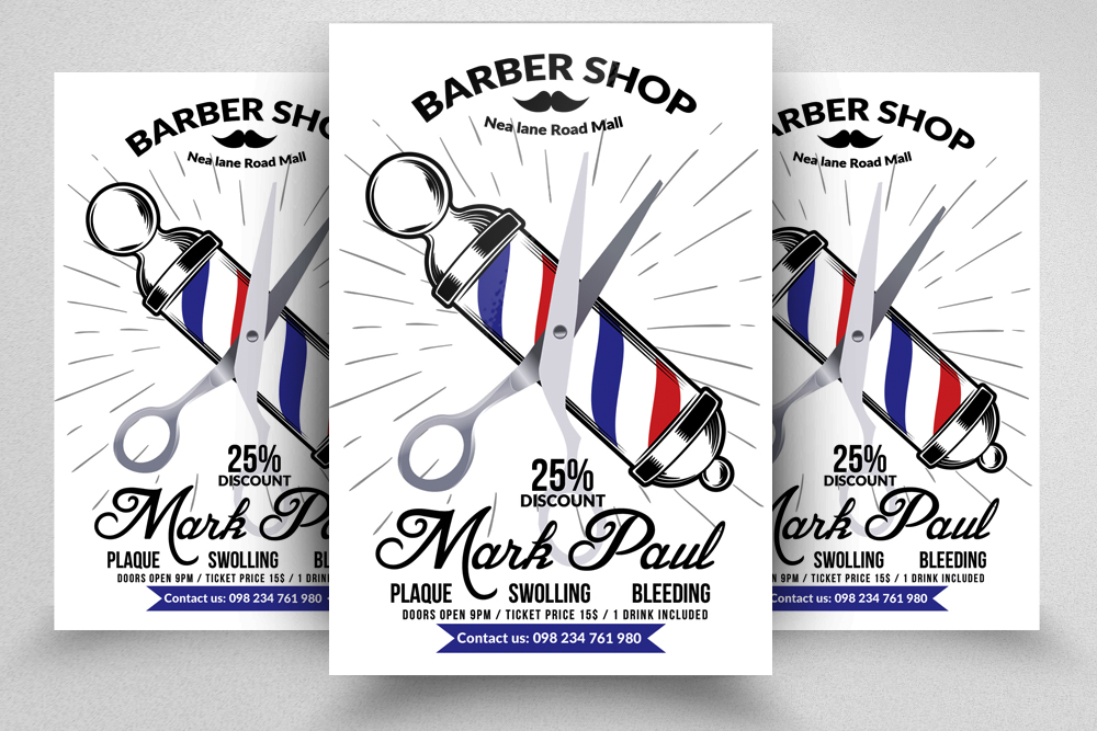 New Barber Shop Psd Flyer Templates example image 1