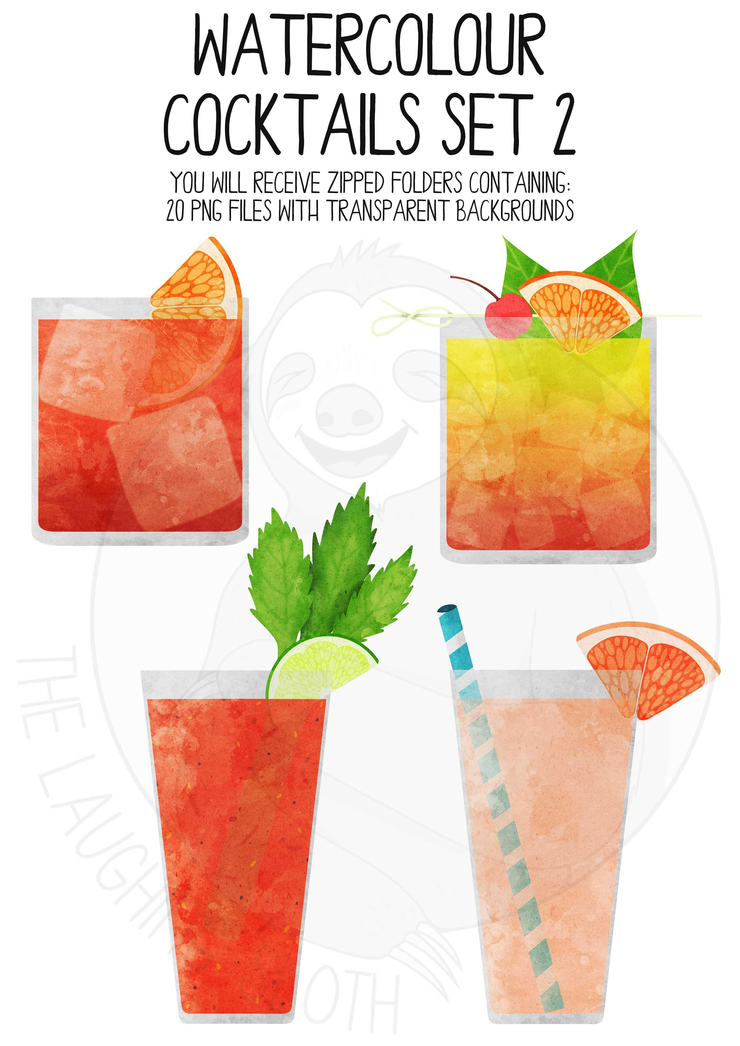 Watercolor Cocktails Clip Art Set 2 example image 3