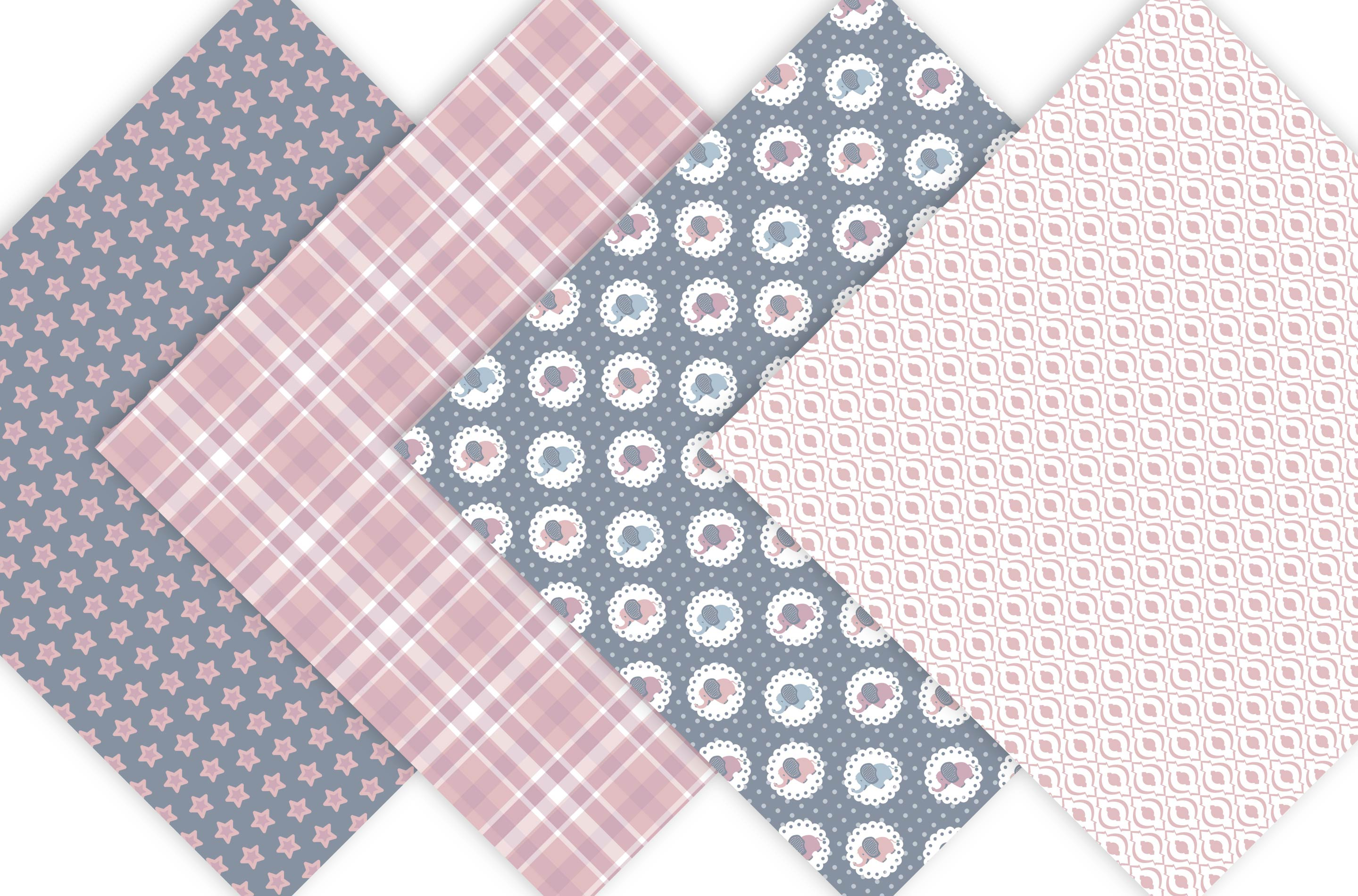 Baby Elephant Digital Paper Patterns - Pink example image 2