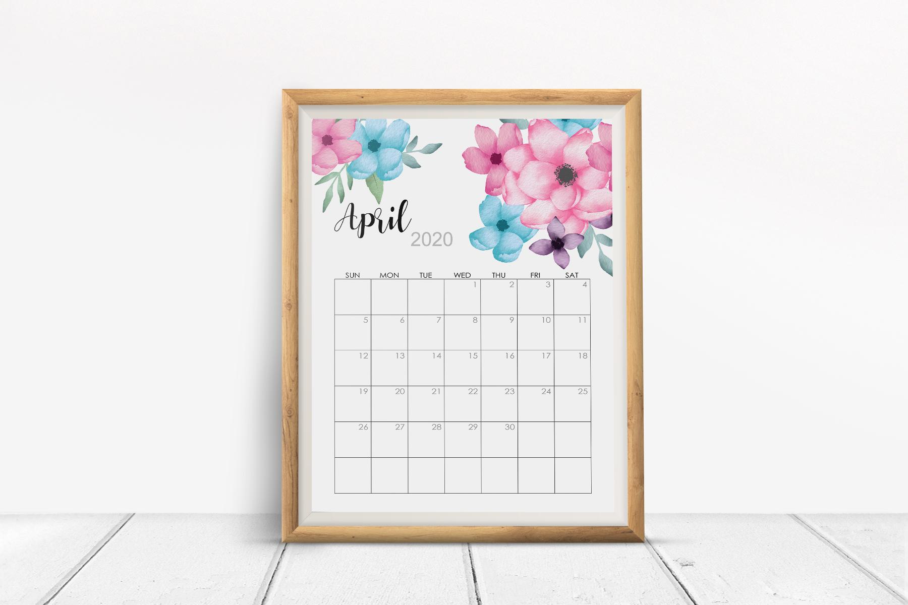 2020 Flowers Calendar Printable, Watercolor Botanical Floral example image 2
