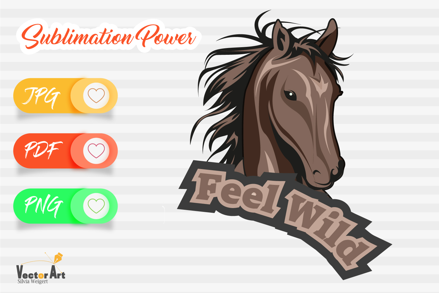 Feel Wild - Horse Head - Sublimation File for Crafter example image 1