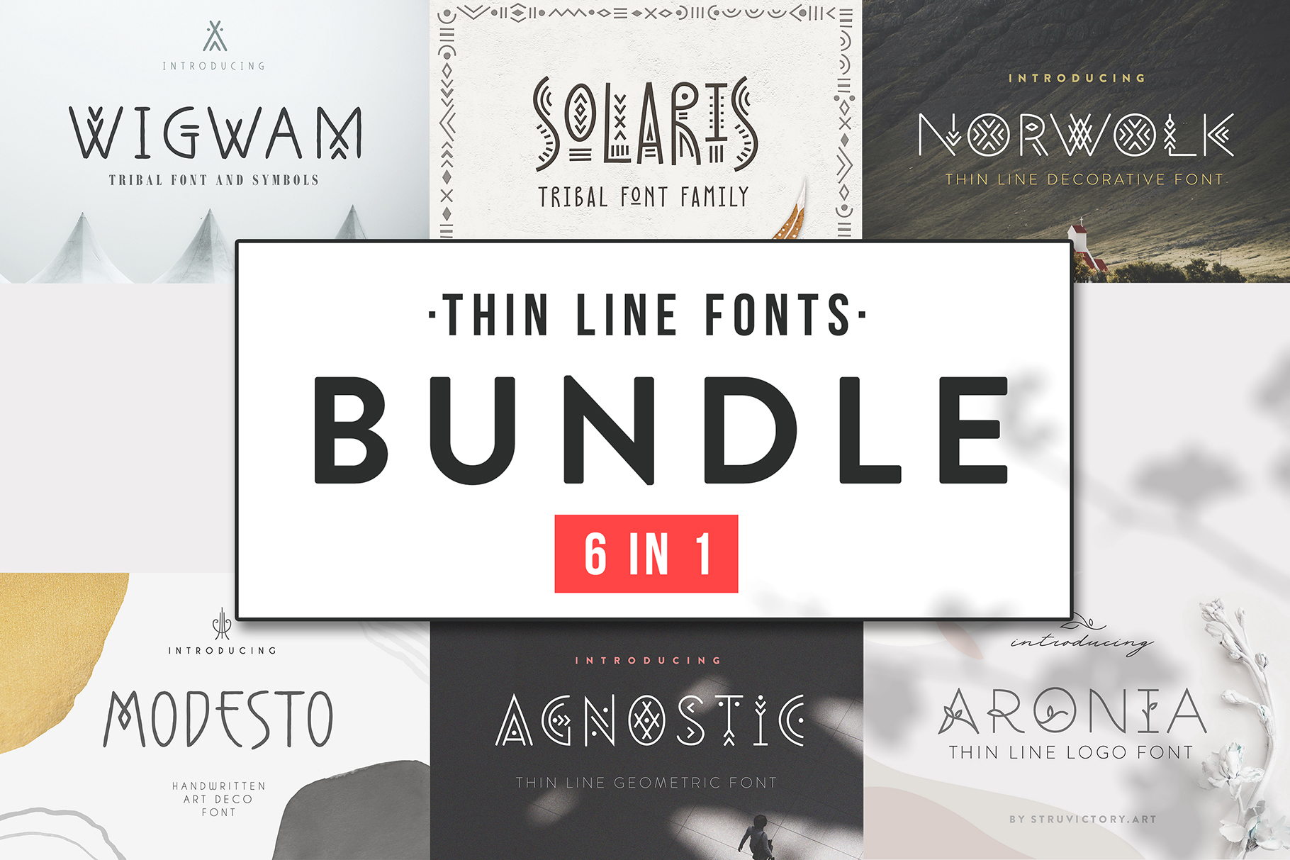 Thin Line Font Bundle 6 in 1 example image 1