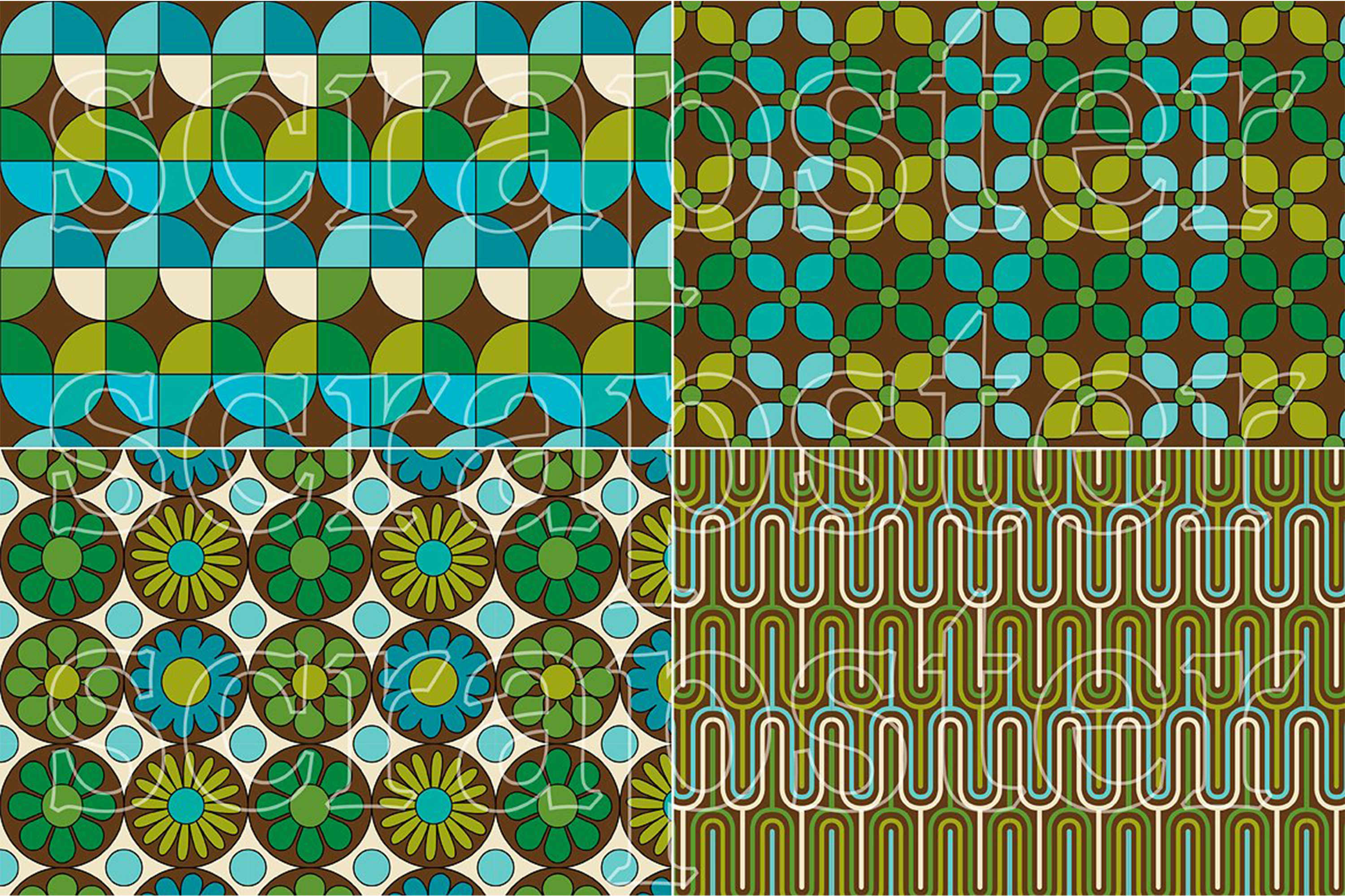 Mod Blue & Green Seamless Patterns example image 4