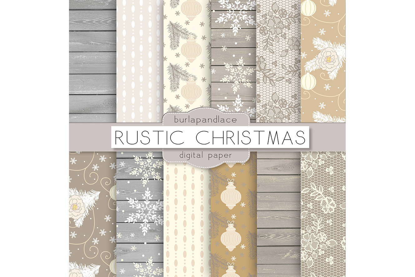 Vintage rustic floral christmas digital papers example image 2