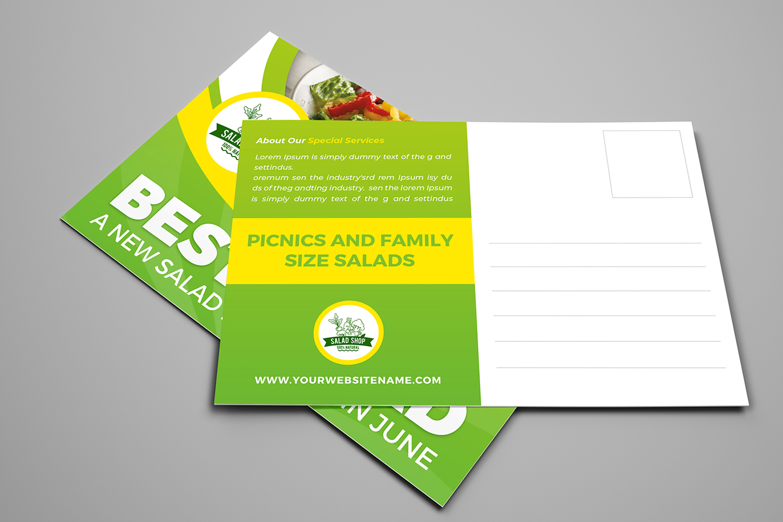 Salad Restaurant Postcard Template example image 2