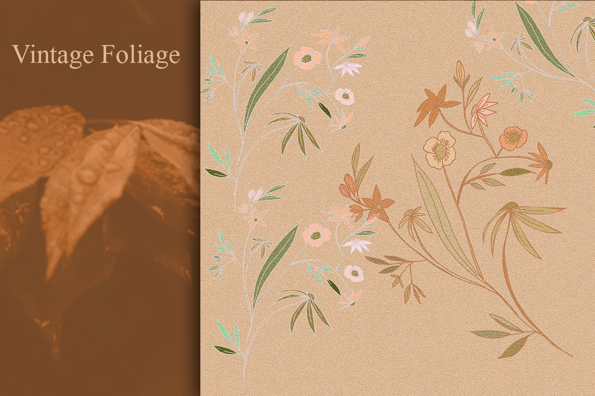 Hand drawn Vintage Foliage paper. Nature drawings artwork. example image 3
