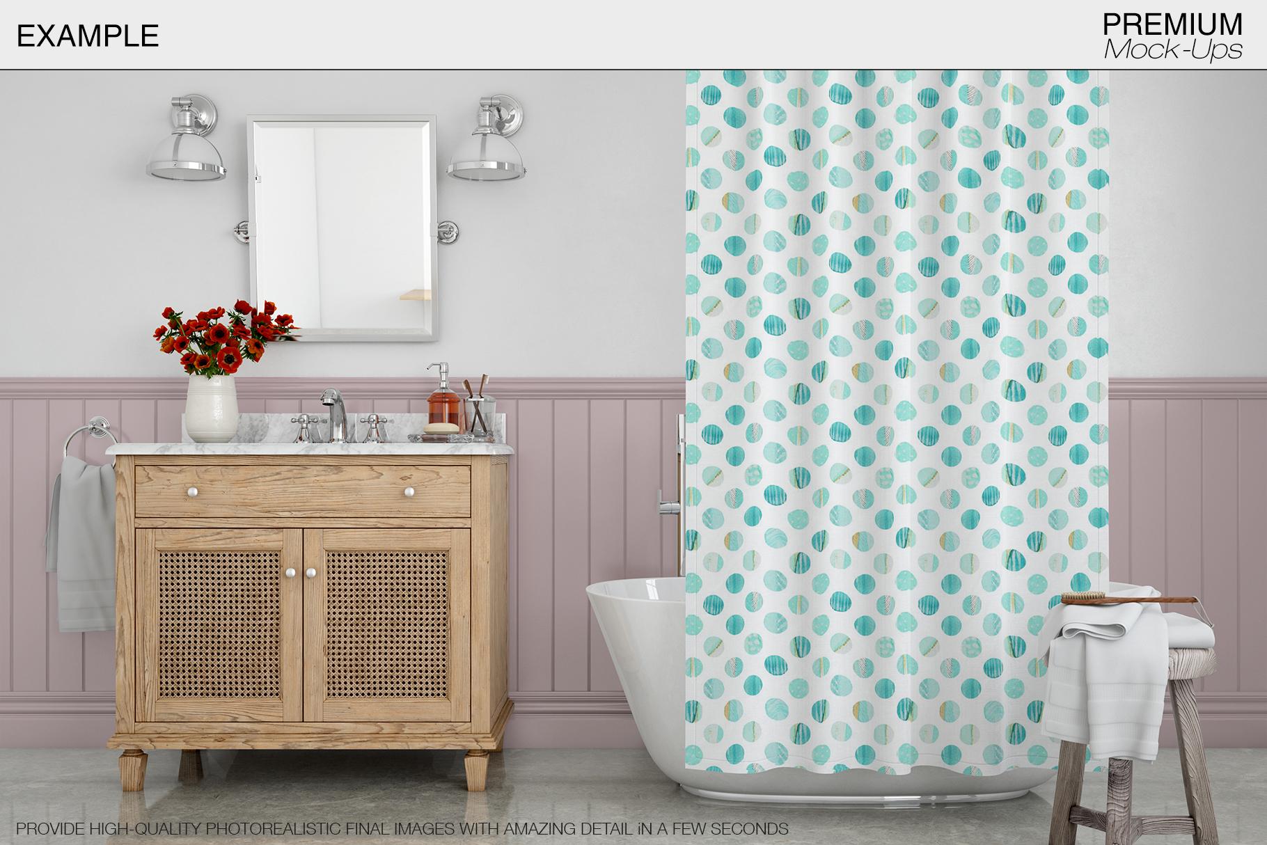 Bath Curtain Mockup Pack example image 7