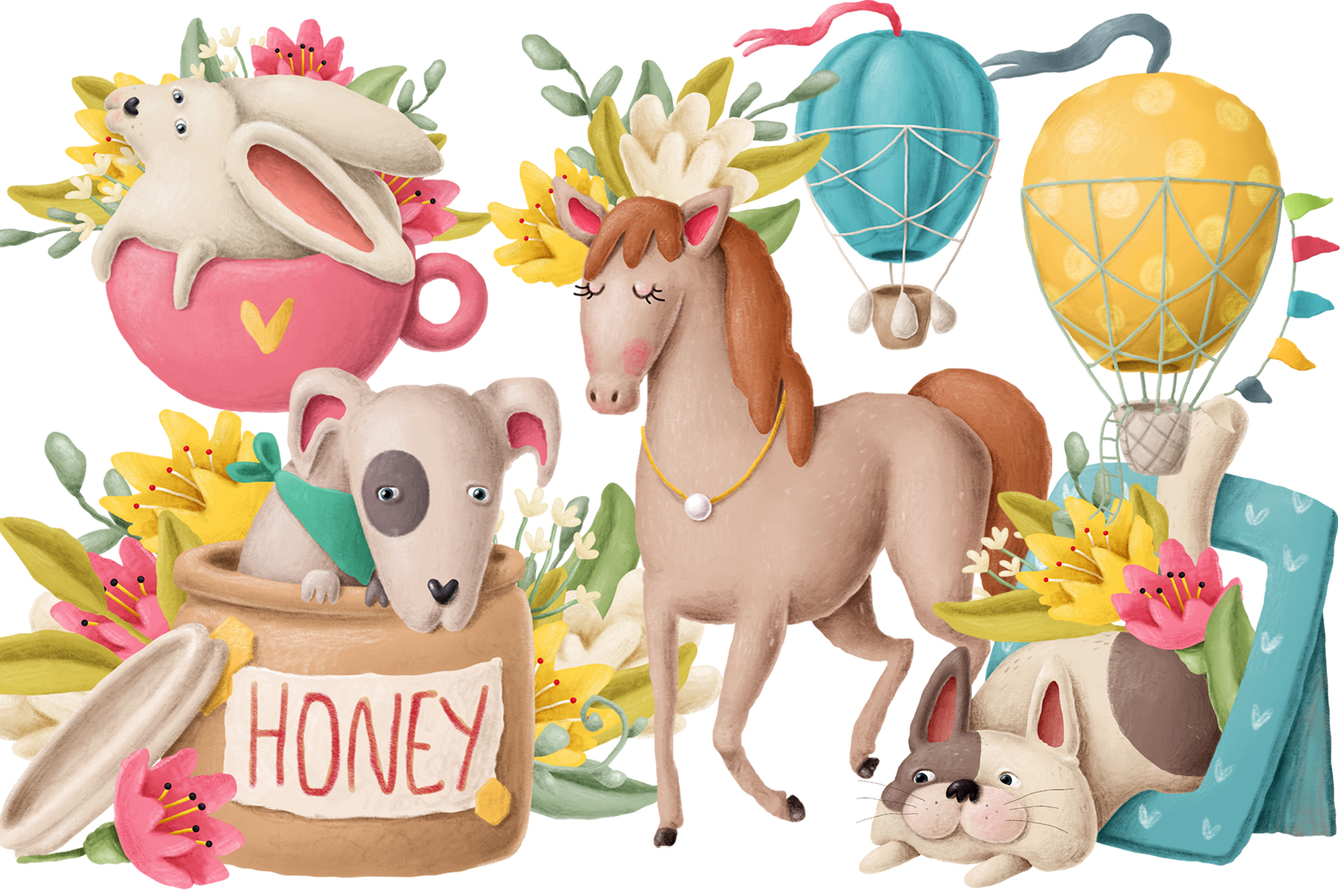 Cute animals clipart set example image 1