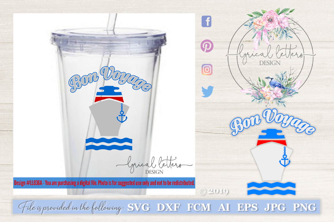 Bon Voyage with Cruise Ship SVG DXF FCM LL036A example image 1