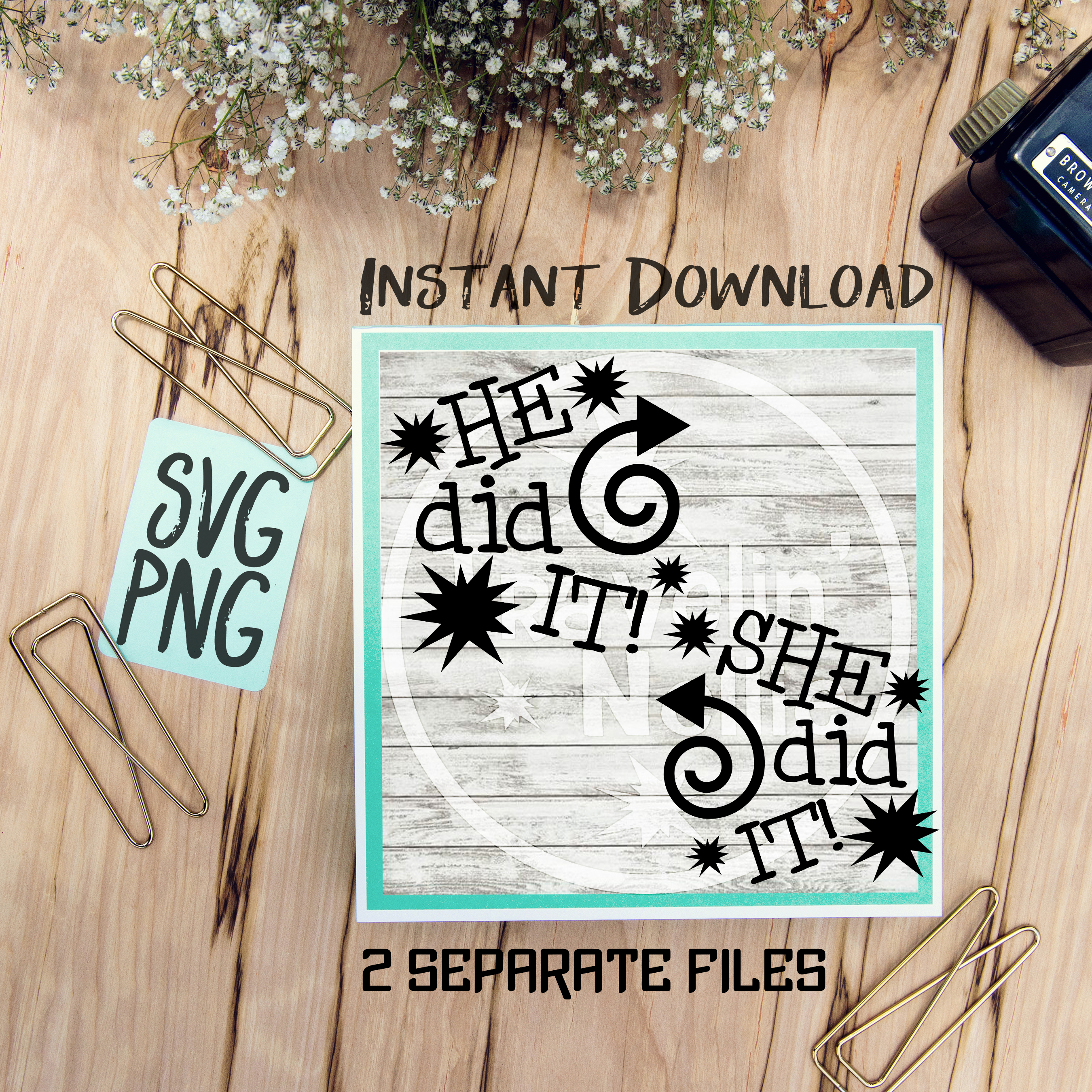 He Did It She Did It Twin Cousin Siblings SVG PNG Image Design for Cut Machines Print DIY Design Brother Cricut Cameo Cutout  example image 1