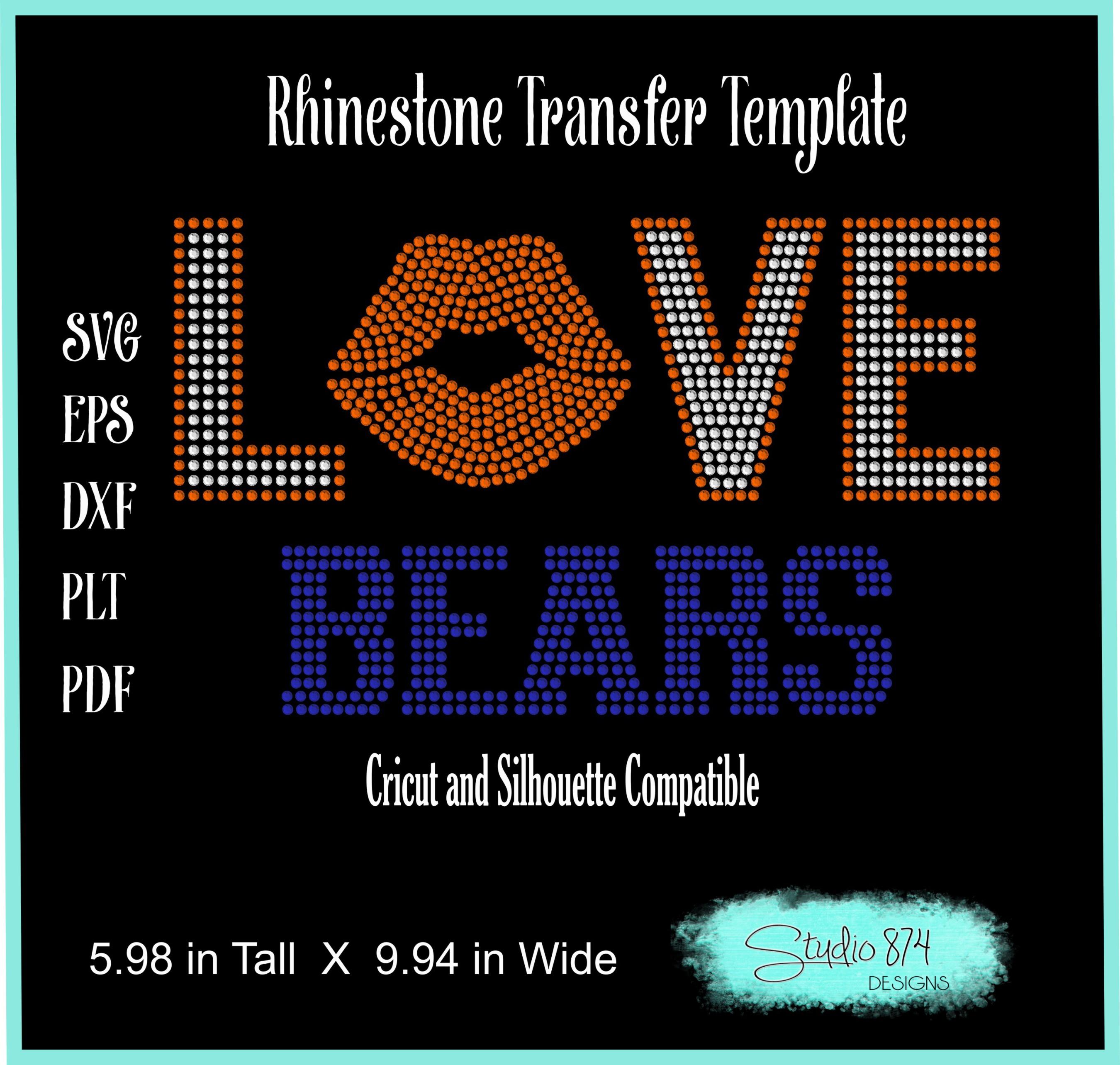 Love Bears Football Rhinestone Template Digital Download R1 example image 2