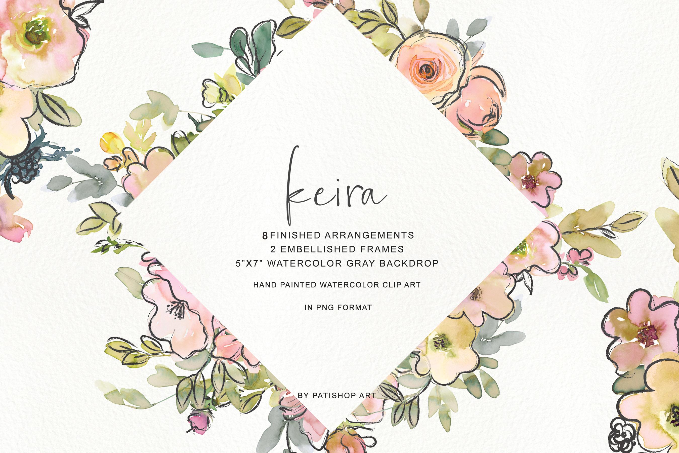 Watercolor Blush and Lemon Colors Floral Arrangements example image 2