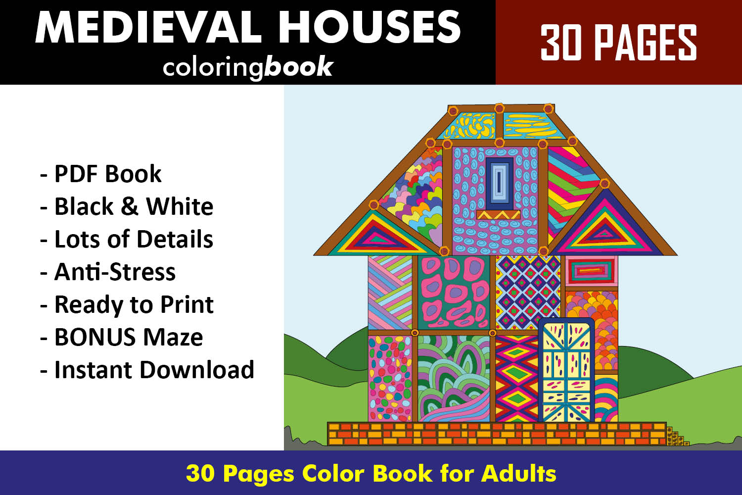 Medieval Houses Coloring Book - 30 Unique Coloring Pages example image 1