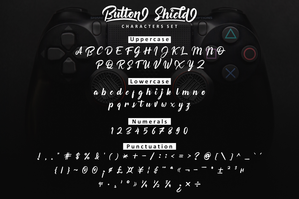Button Shield Brush Font example image 2