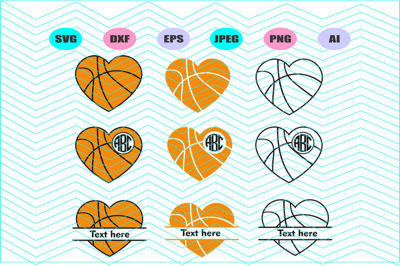 Basketball monogram Svg Dxf Eps Png Jpg Ai Cut Vector Vinyl example image 1