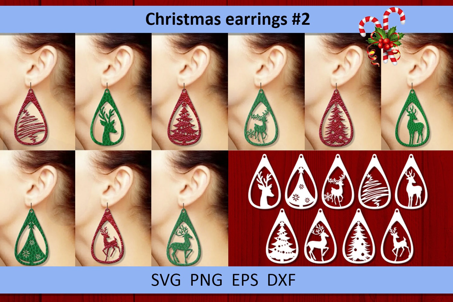 9 Christmas earrings svg Leather earrings svg Necklace svg example image 1