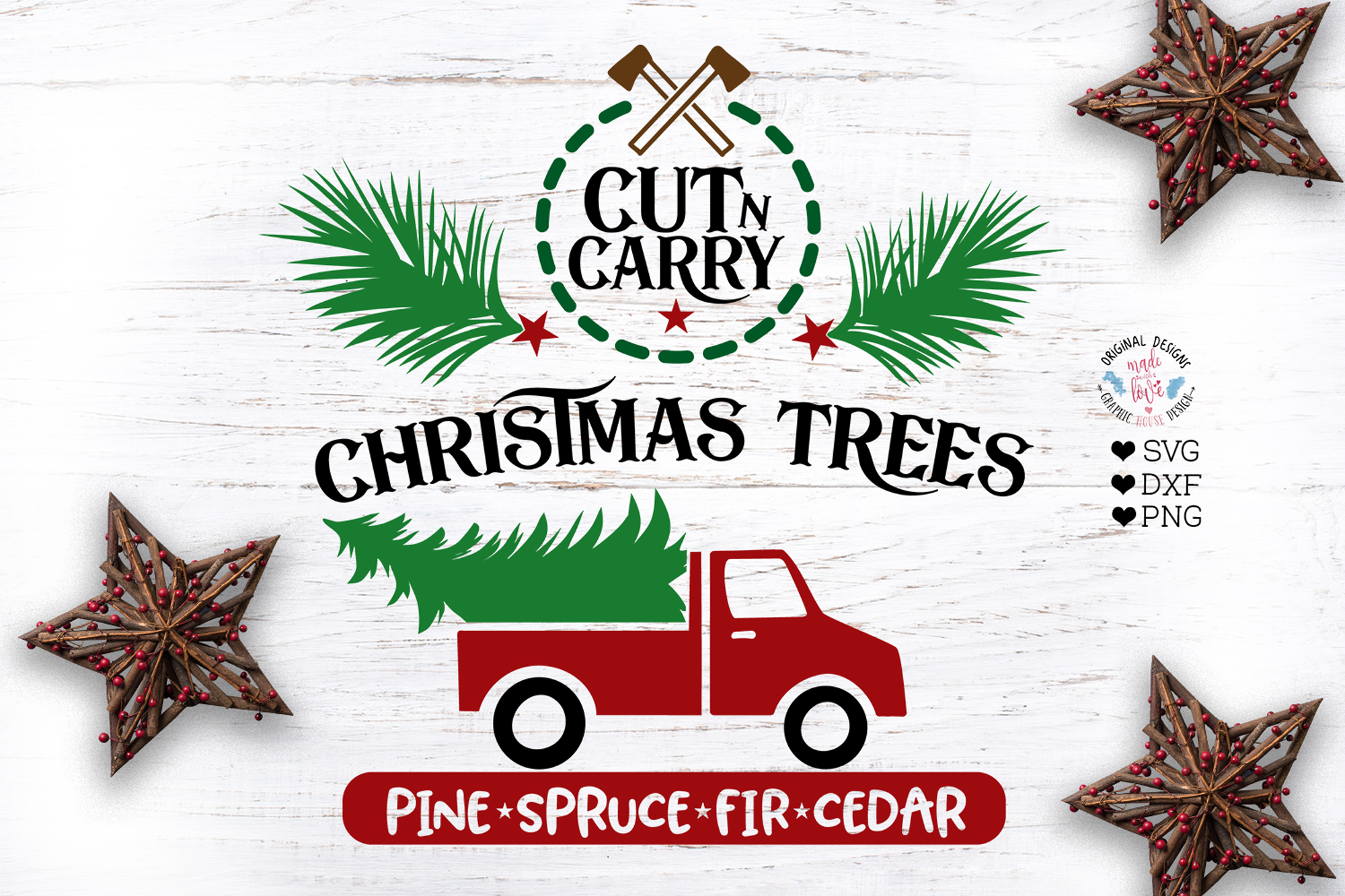 Cut n Carry Christmas Trees Red Truck Farm Cut File example image 1