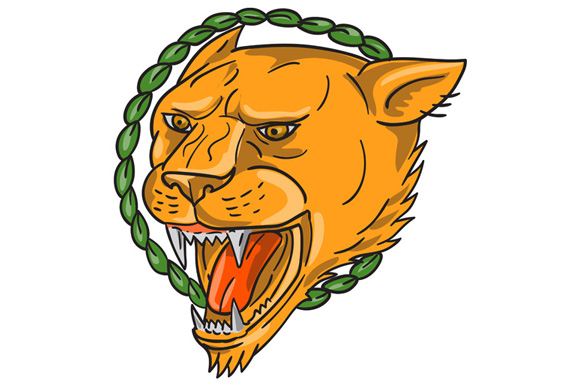 Lioness Growling Ring Leaves Tattoo example image 1