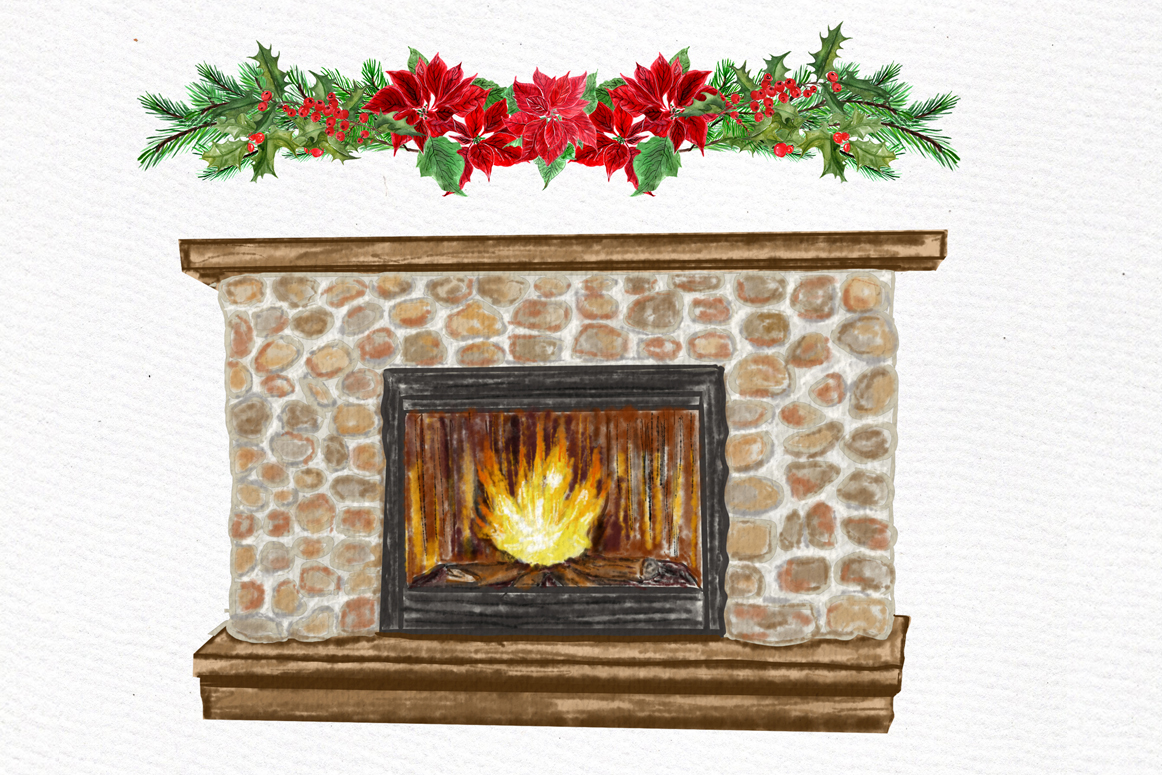Christmas Girls Clipart, Fireplace and Stockings, Ornaments example image 9