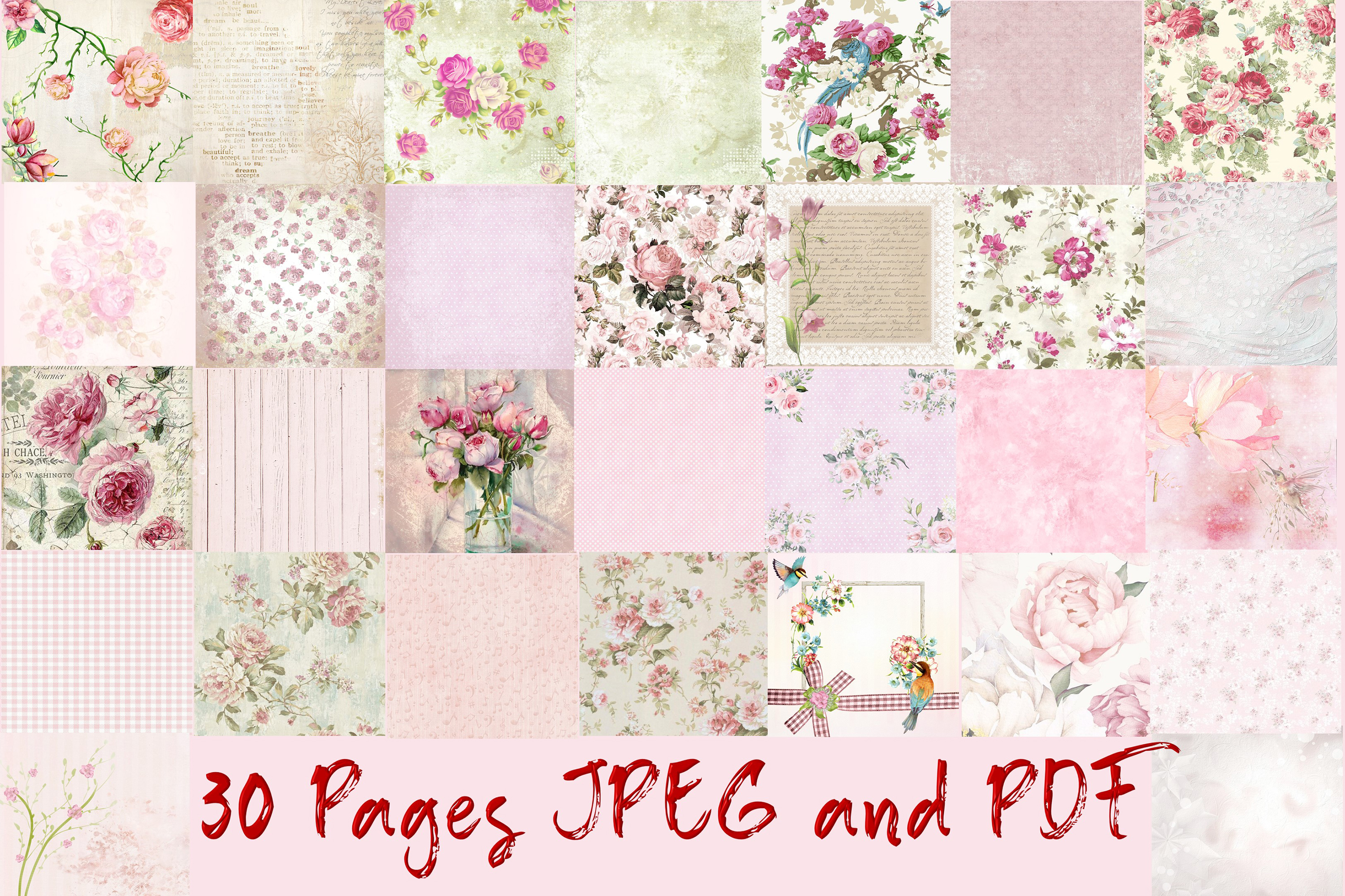 """30 Scrapbook Papers. Pink, Shabby Chic 8"""" x 8"""" JPEG & PDF example image 2"""