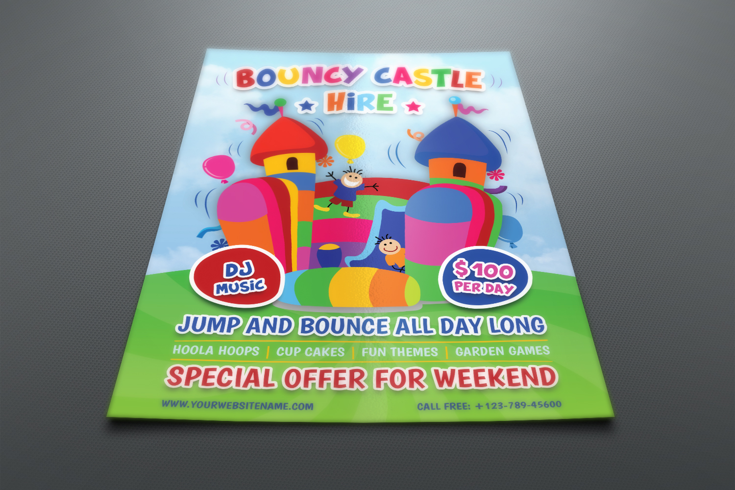 Bouncy Castle Hire Flyer Template example image 2