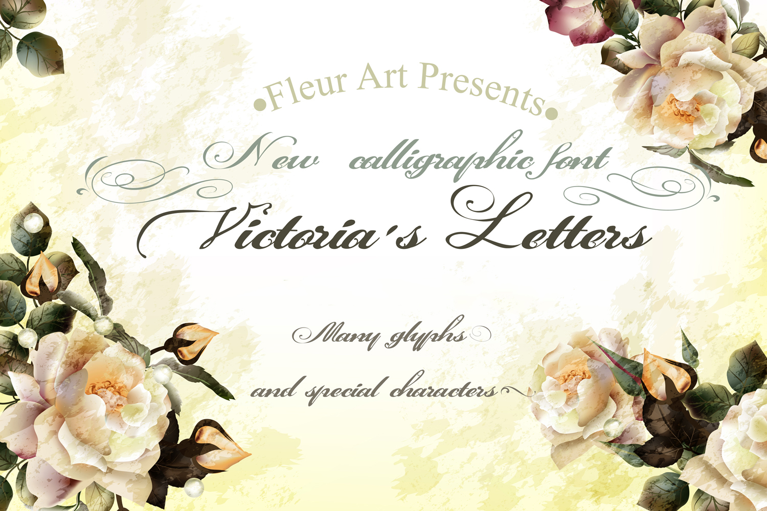 Victorias letters. New calligraphic font example image 1