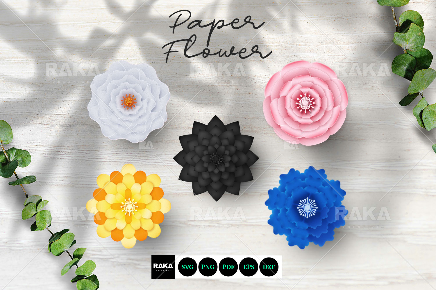 20 Paper Flower SVG | Paper Flower Template | Large Paper example image 4