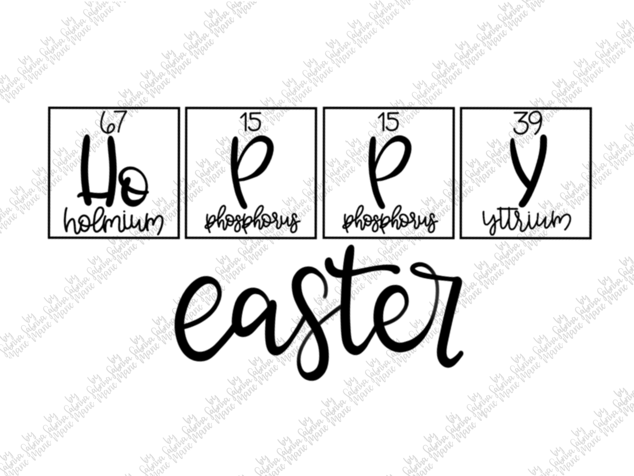 Hoppy Easter|Periodic Table|Handdrawn |SVG|PNG|Easter Bunny example image 2