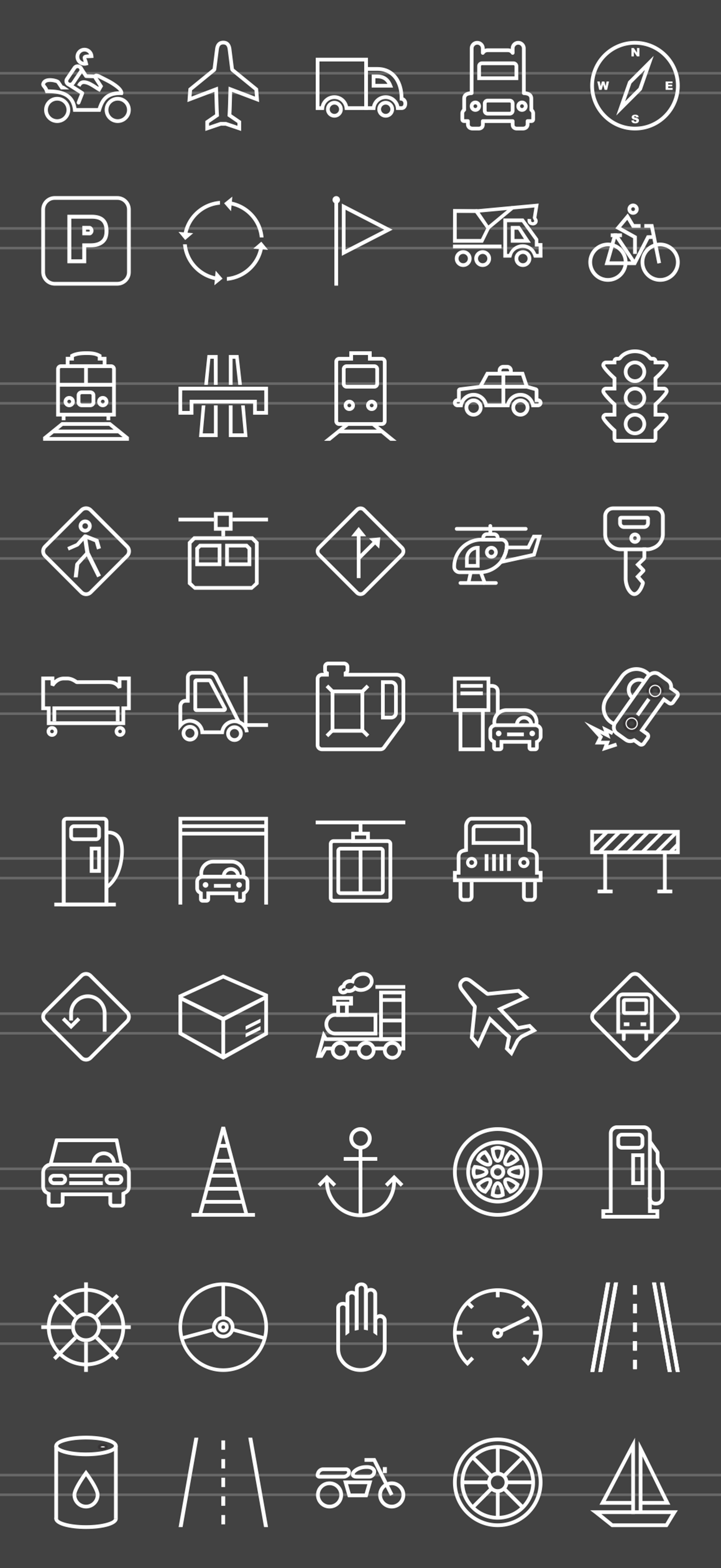 50 Transportation Line Inverted Icons example image 2