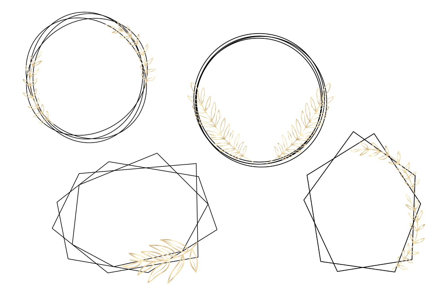 Minimal Geometric Frames, Gold Frames Cliparts example image 5