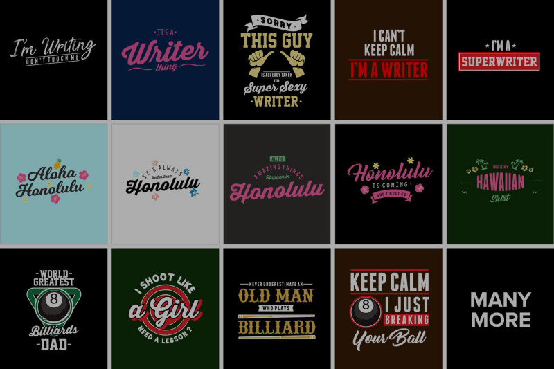 80 Awesome T-Shirt Designs Bundle Hot Niche 2019 example image 2