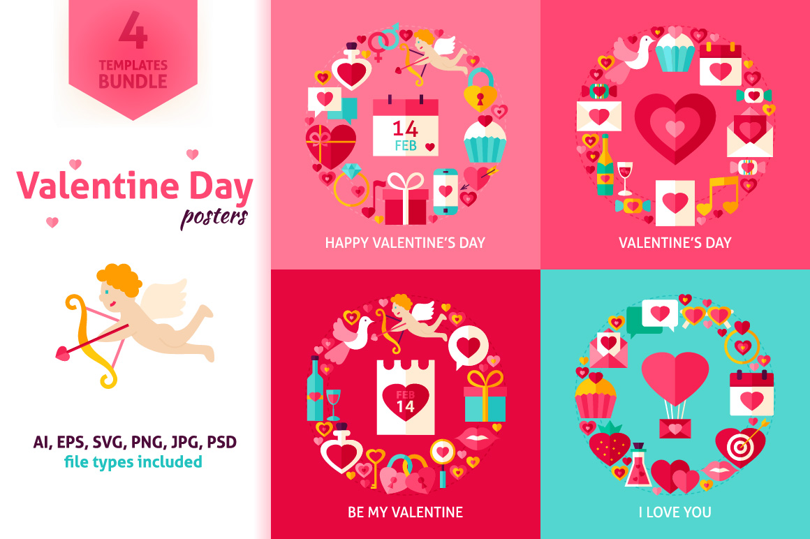 Valentines Day Vector Posters example image 1