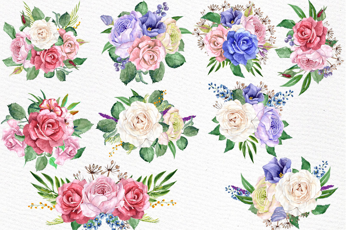 Watercolor wreaths clip art example image 3