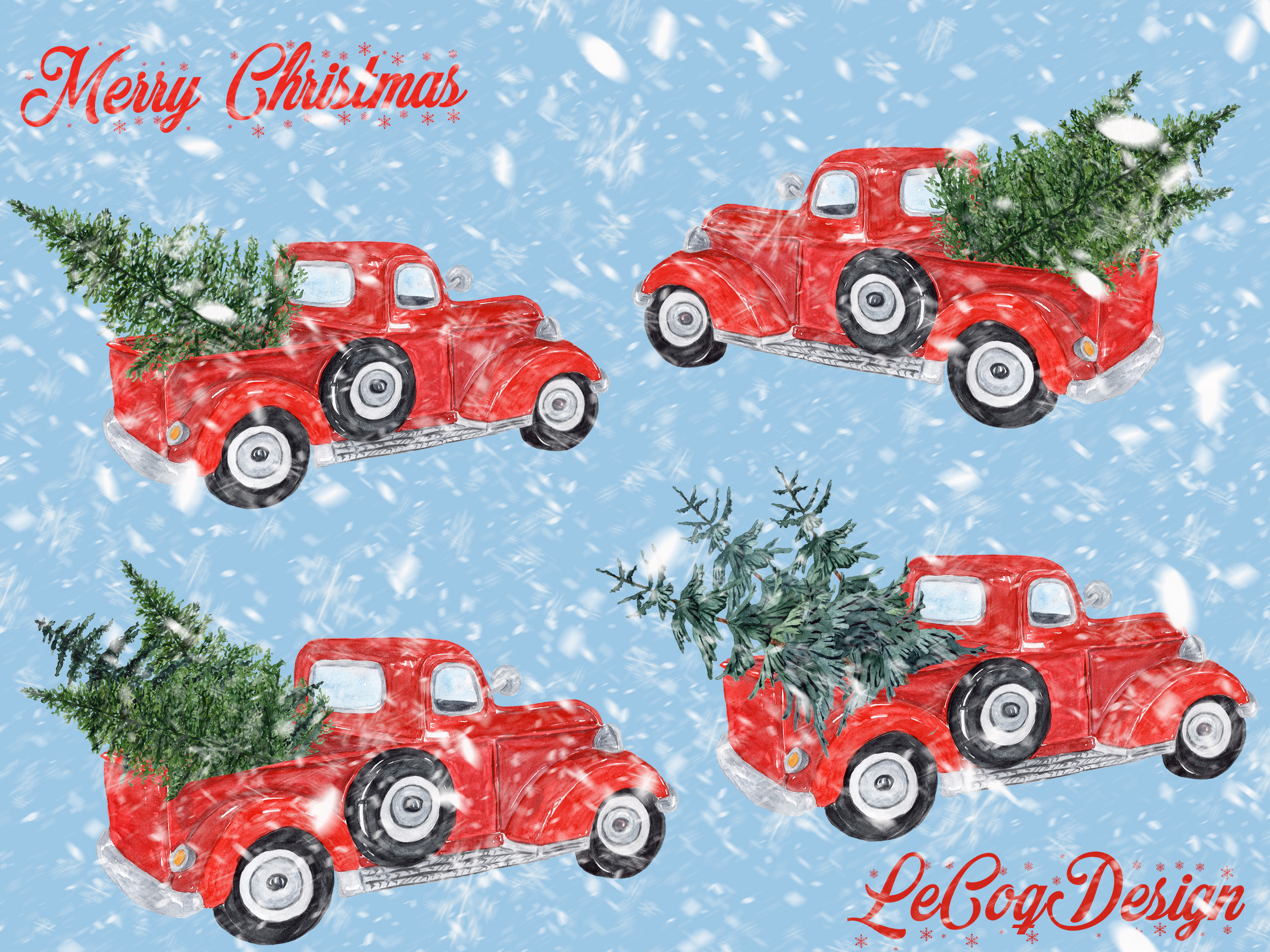 Watercolor Christmas clipart example image 5