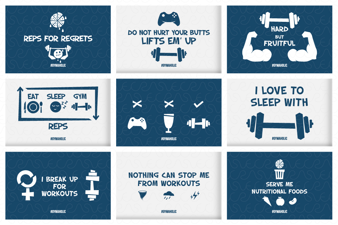 Gymaholic- Gym & Fitness Inspirational Print Designs Pack example image 5