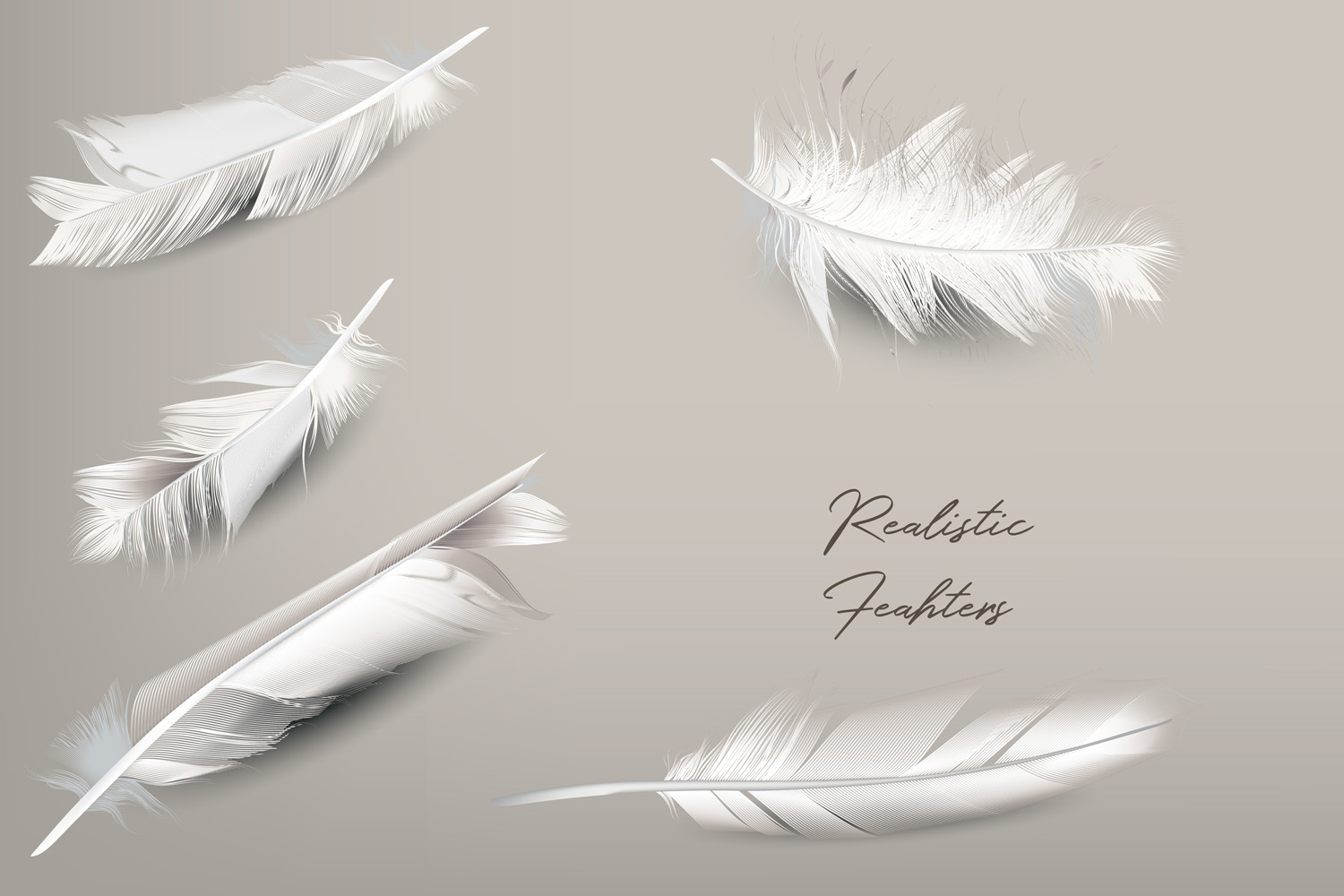 White feather. Vector realistic clipart example image 2
