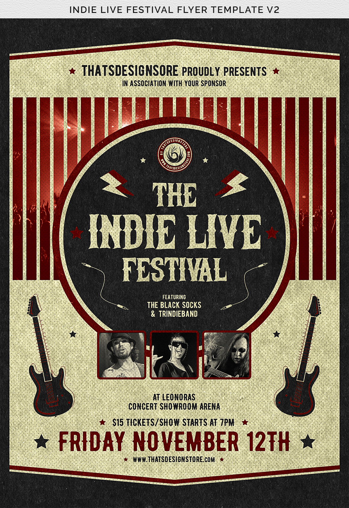 Indie Live Festival Flyer Template V2 example image 8