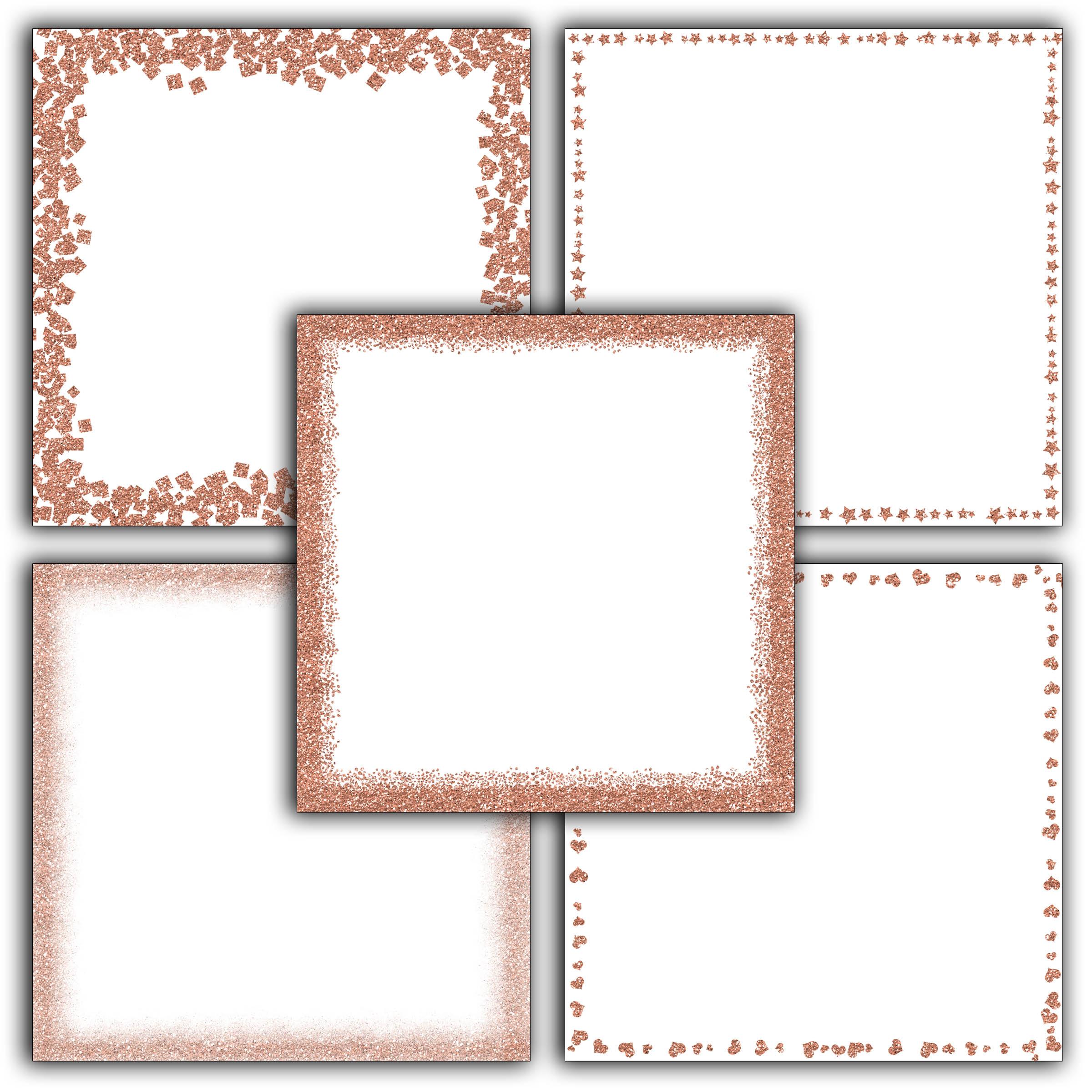 Rose Gold Glitter Borders Digital Paper example image 4