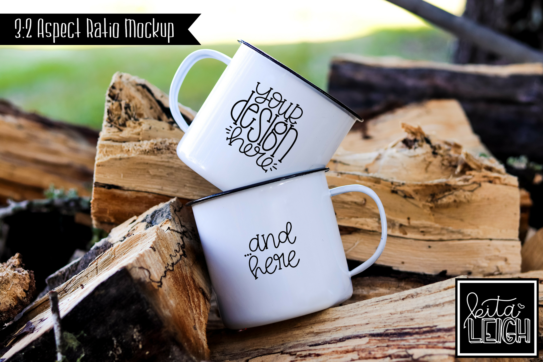 Double Stack White Campfire Mug Mockup Bundle example image 5