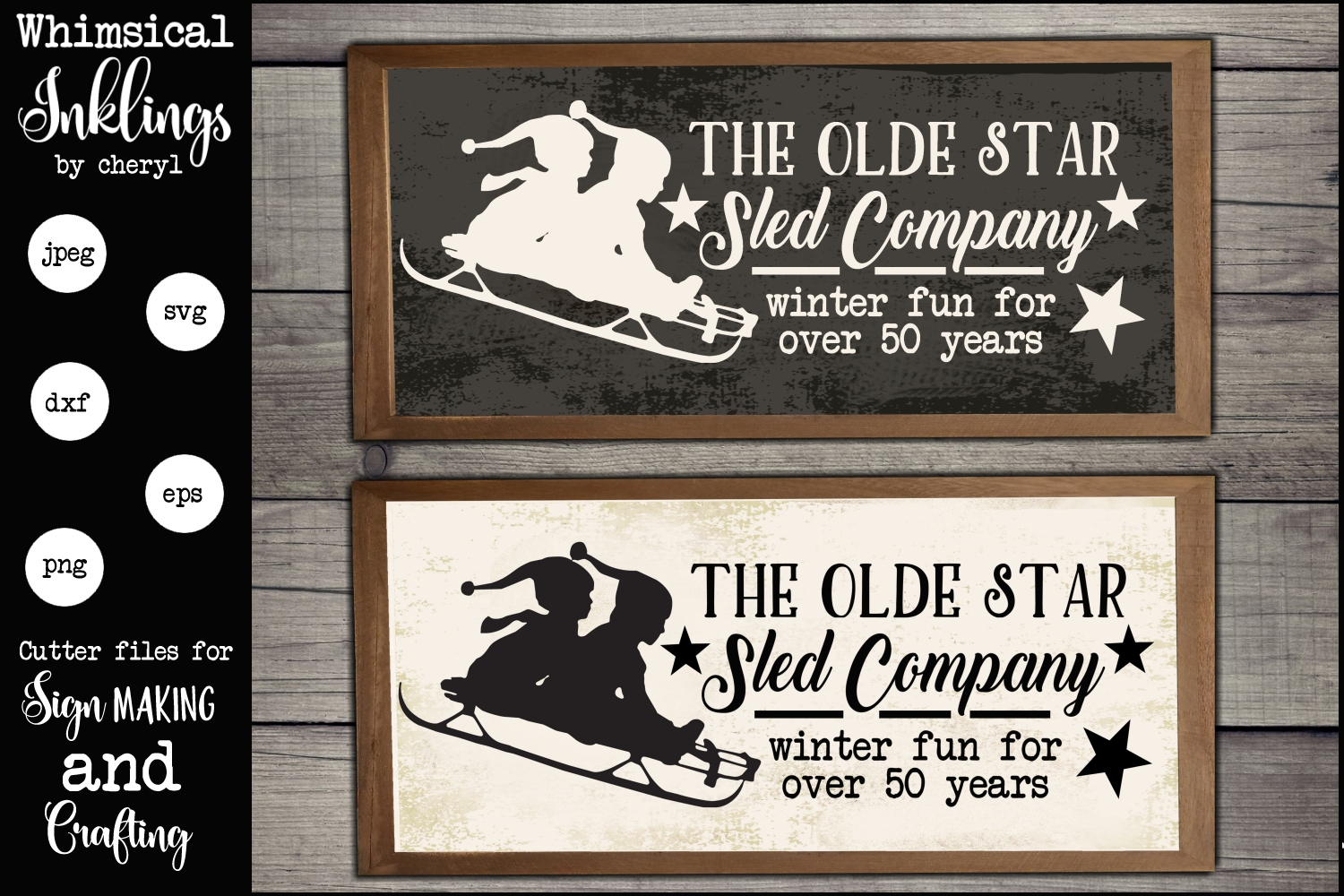 The Olde Star Sled Company Sign SVG example image 1