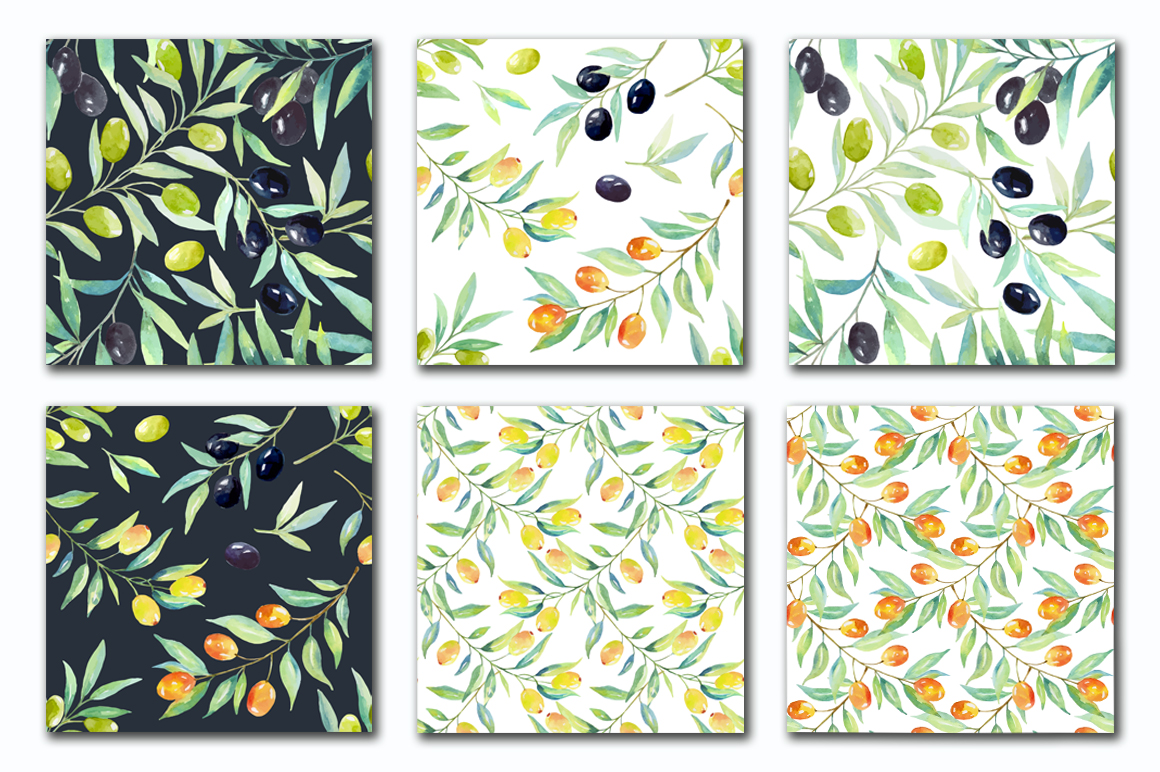 Olive set. Watercolor collection. example image 5