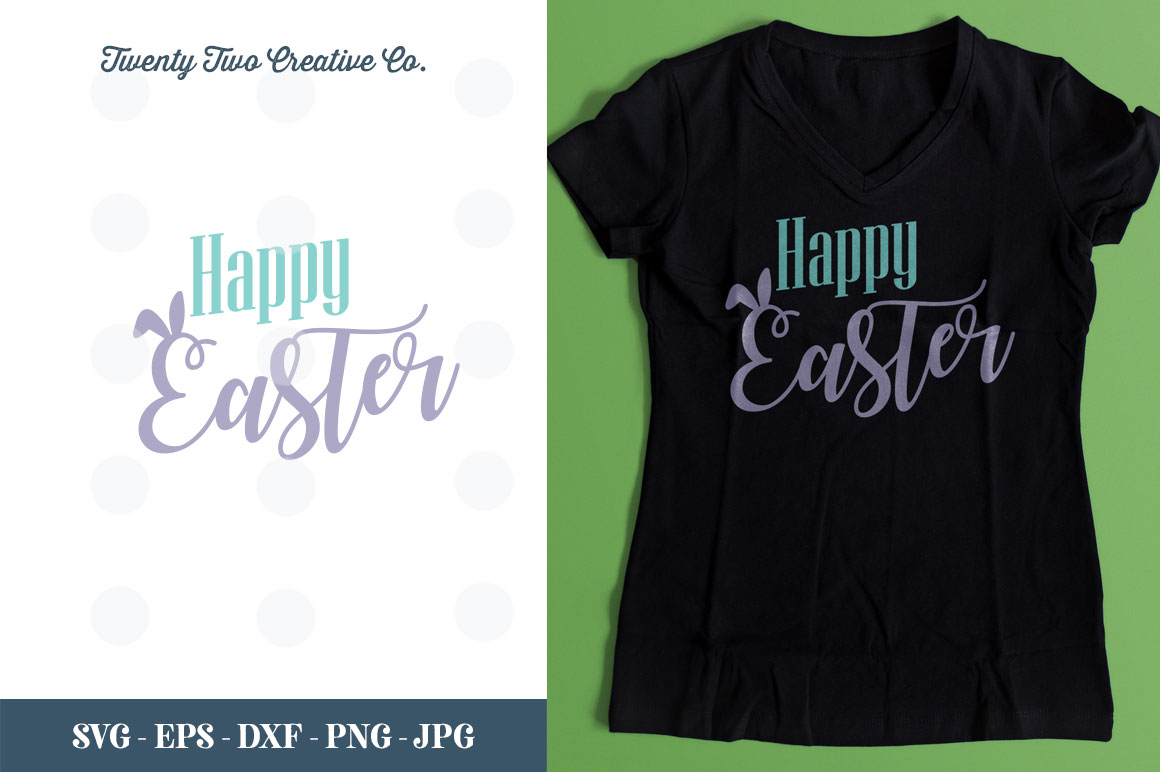 Happy Easter Cut File - SVG, DXF, PNG, EPS, JPG example image 1