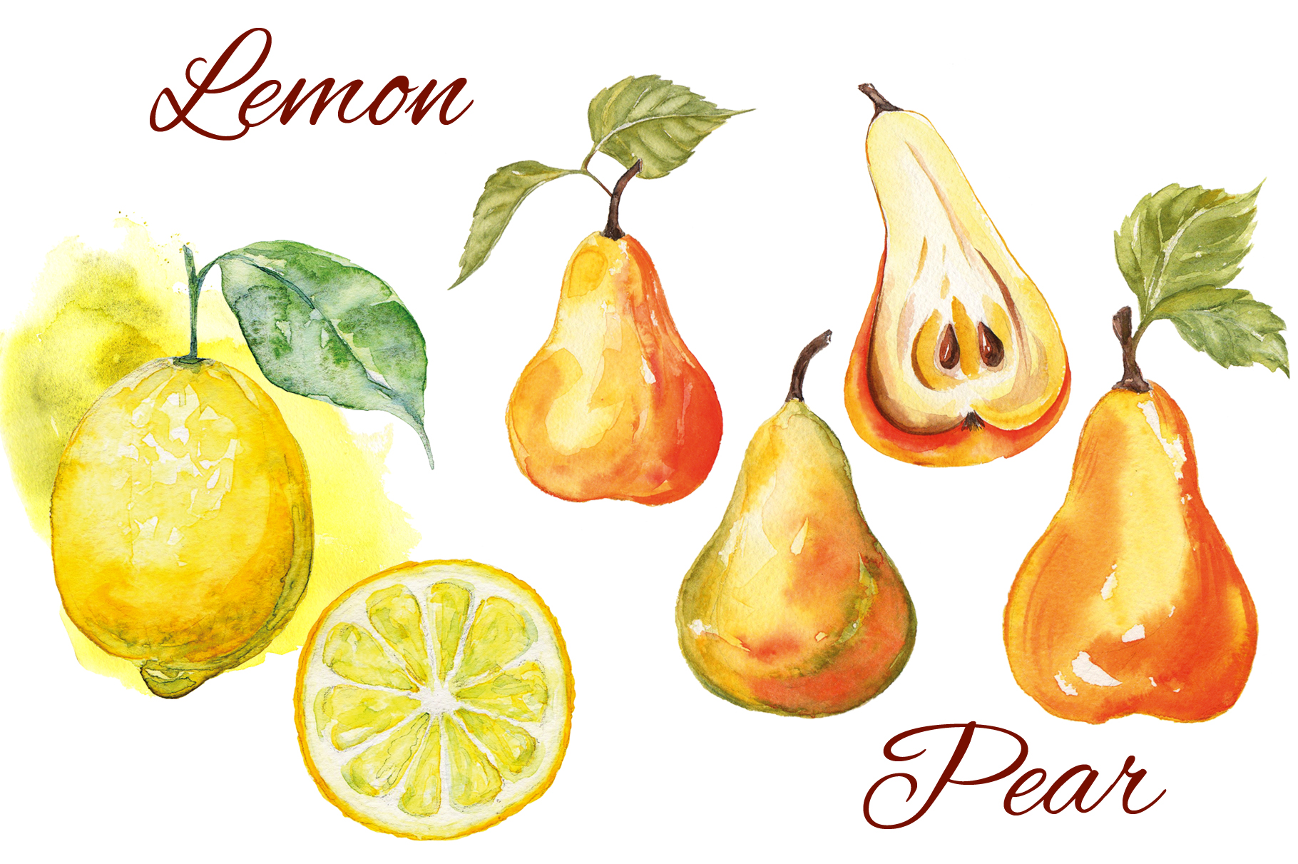 Fruits watercolor collection example image 5