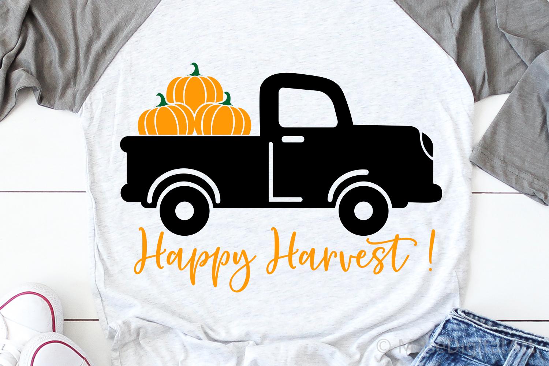 Happy Harvest Svg, Pumpkin Truck Svg, Fall Svg, Pumpkins Svg example image 1