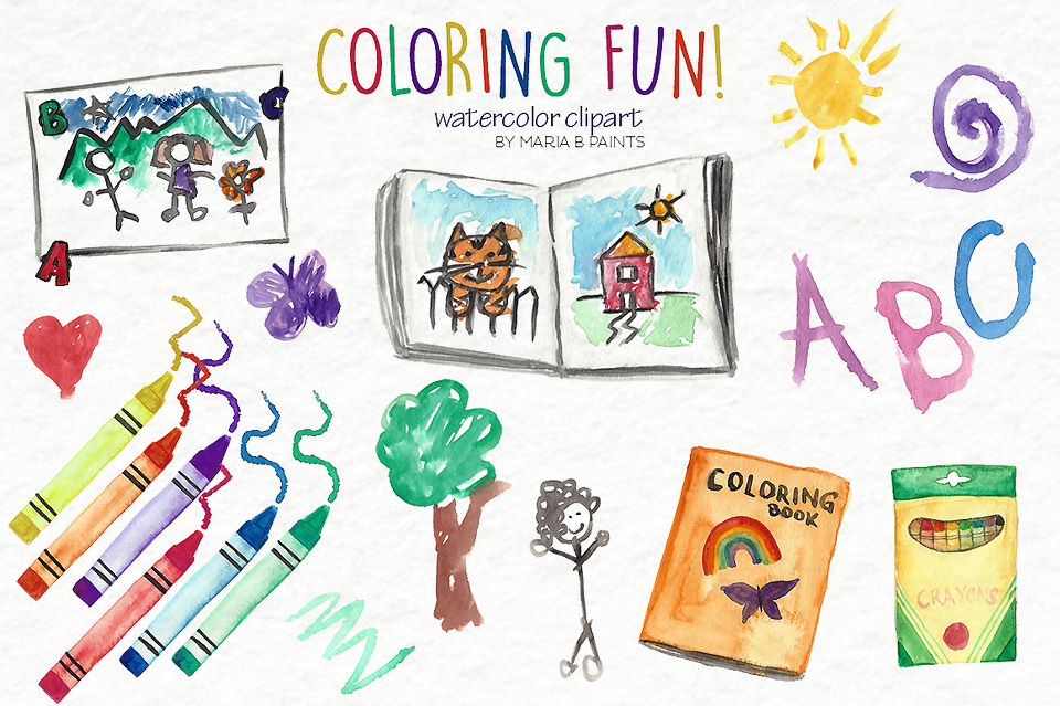 Watercolor Clip Art - Coloring, Crayons example image 2