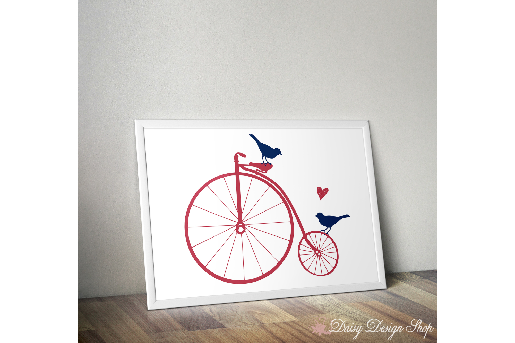 Art Print - Big Wheel Bicycle with Birds and Heart - 8x10 Printable example image 1