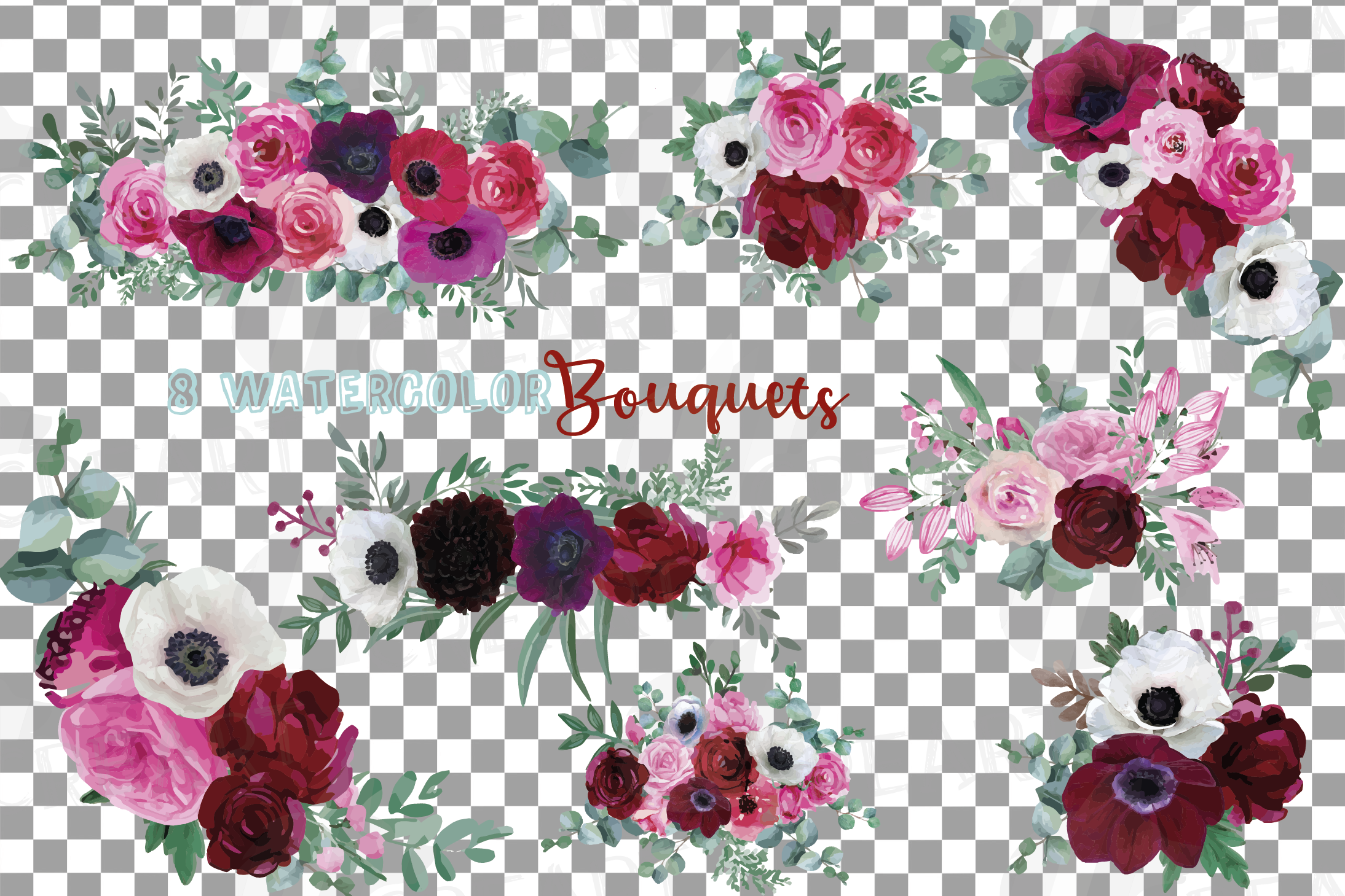 Watercolor elegant floral bouquets 2, rose, anemone decor example image 2