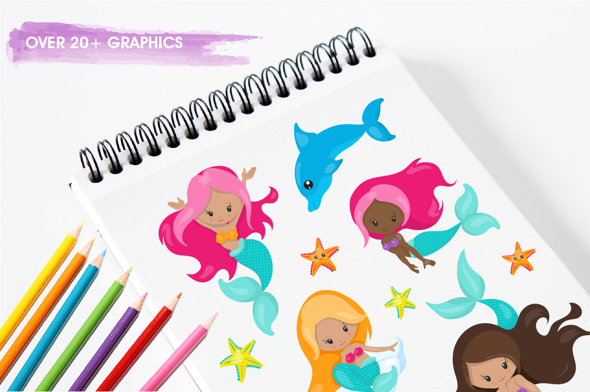 Mermaid Vibes graphic and illustrations example image 3